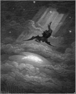 La chute de Lucifer par Gustave Doré. Le Tentateur continue à pousser les hommes à commettre des péchés mortels pour les priver de la grâce de Dieu