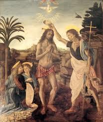 Le baptême du Christ par Léonard de Vinci